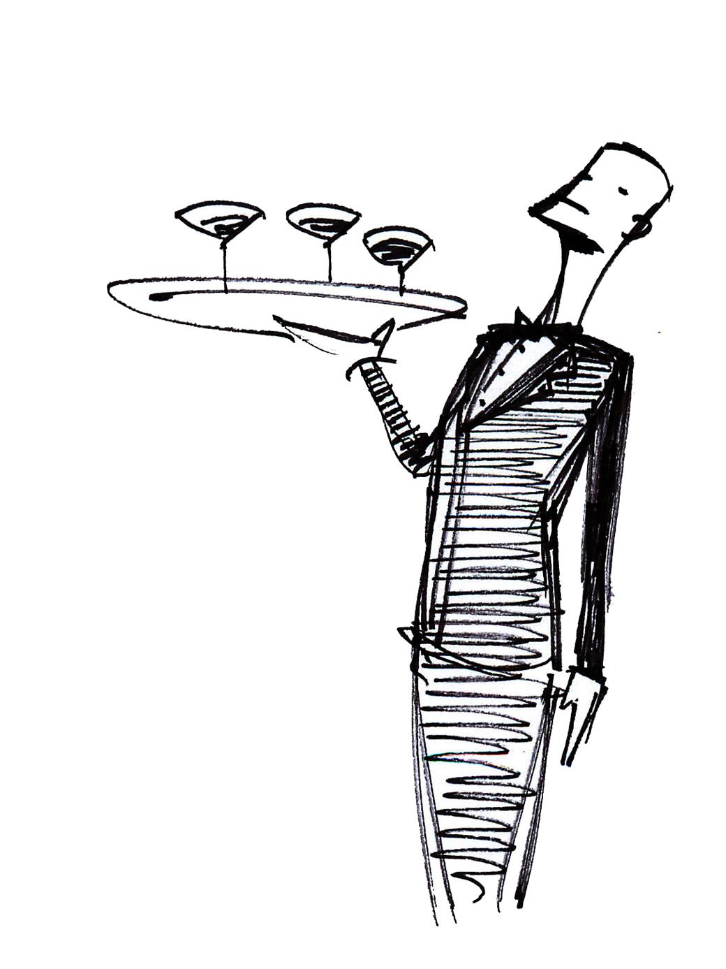 Alfredo Fajardo sketch of waiter with drinks