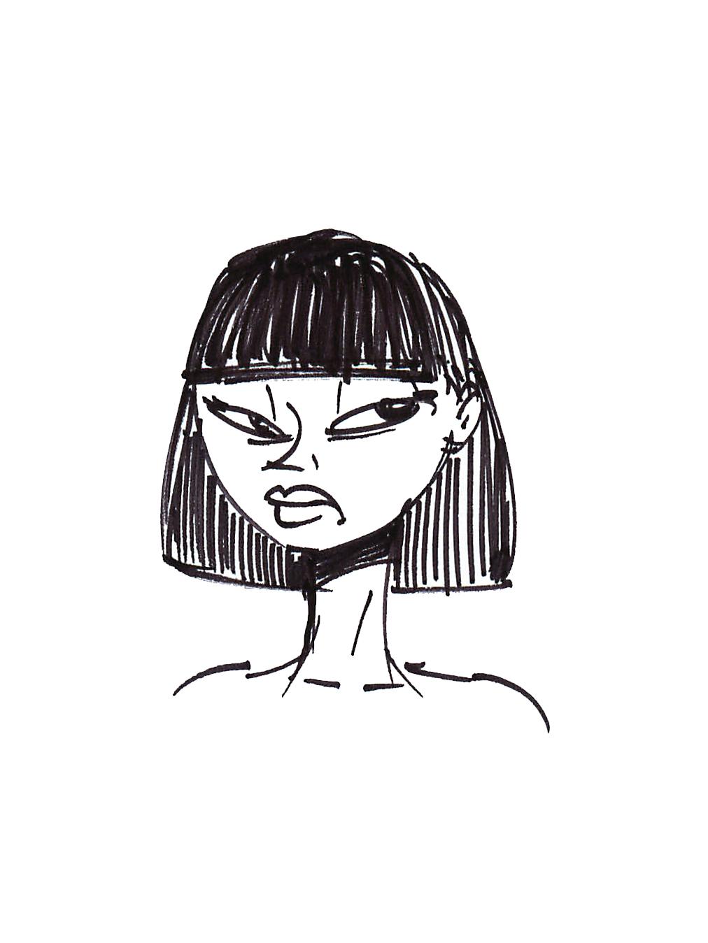 Alfredo Fajardo sketch of an unsatisfied woman