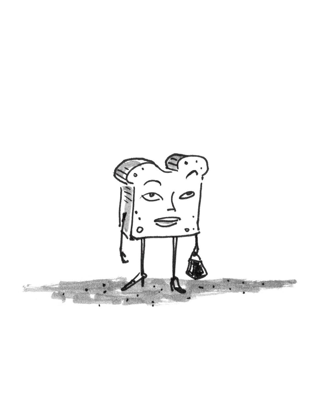 Alfredo Fajardo sketch of toast lady