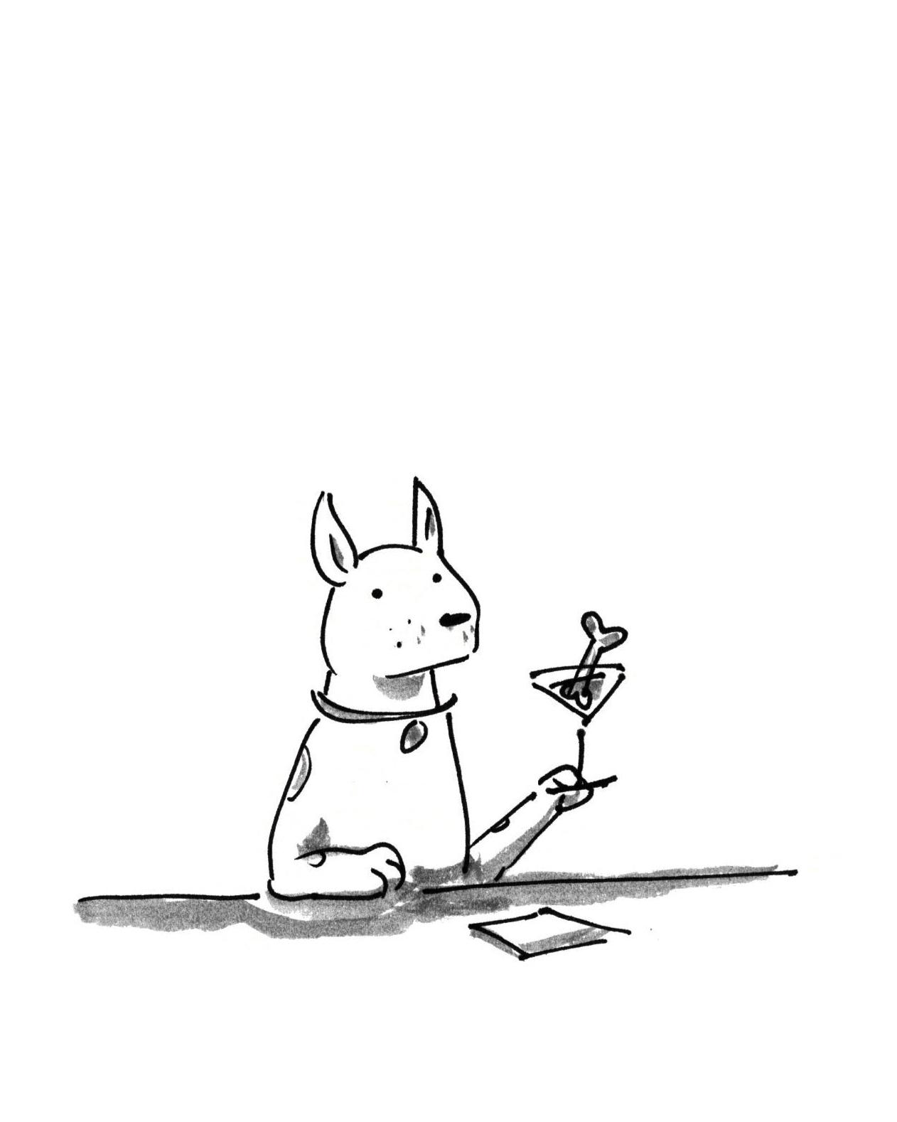 Alfredo Fajardo sketch of dog with bonetini